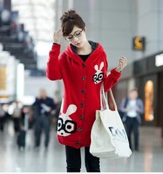 Cute fashion kawaii rabbit hooded sweater coat