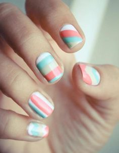 Light colored nails with stripes. Perfect for spring! Nails Nails Nails! The best accessory is a fresh manicure. Visit Walgreens.com for more