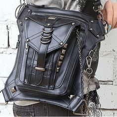 Gothic Motorcycle Rider Waist Leg Bag Backpack Steampunk Punk Unisex Shoulderbag #Unbranded #FannyWaistPack
