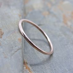 Simple Thin 14k Rose Gold Wedding Band in Choice of Finish - Smooth, Hammered, or Brushed / Matte / Satin by brightsmith on Etsy https://www.etsy.com/listing/216794116/simple-thin-14k-rose-gold-wedding-band