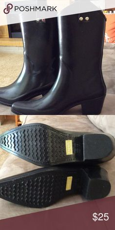 Capelli black rubber cowgirl boots.  Worn once. Really cute black rubber cowgirl boots.  Medium width.  Fits 8 or 8.5. Capelli of New York Shoes Winter & Rain Boots