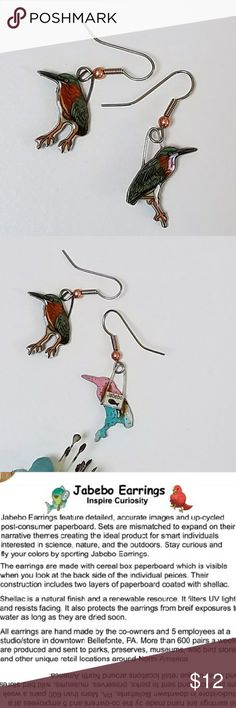 Jabebo Green Heron ERs, PRICE FIRM Nature-inspired earrings, made of shellaced cereal boxes! and surgical steel wires. See third picture for more info about Jabebo earrings. 7/8 inch.  Price firm unless bundled. Check closet for many more Jabebo Bird Earrings! Jabebo Jewelry Earrings