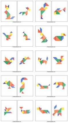 Not Pattern Blocks – but Tangram Preprints! Math Games, Toddler Activities, Learning Activities, Kids Learning, Visual Perceptual Activities, Kindergarten Math, Teaching Math, Preschool Activities, Tangram Puzzles