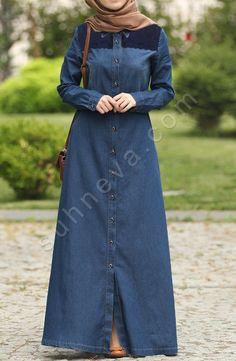 Dantelli Kot Elbise - Lacivert Modest Fashion Hijab, Abaya Fashion, Fashion Dresses, Denim Maxi Dress, Denim Abaya, Moslem Fashion, Modele Hijab, Mode Abaya, Mode Jeans
