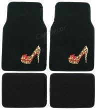 Girly Car Accessories   Jungle Leopard Shoe Girly Car Floor Mats from CarDecor.com .