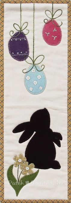 Patch Abilities MM11-4 Little Bunny.  This is the April design of the Monthly Mini Series#11 featuring a simple and sweet little bunny with Easter eggs. This applique pattern includes complete quilting and binding instructions. It's the PERFECT one-day project for any skill level. For this project and more, visit our website at www.patchabilities.com