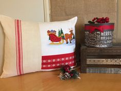 2015 Christmas Designer Pillow made from Mixed Vintage Linens.  One of a kind Pillow!  Visit etsy.com/shop/VintageStoryLinens.  Use PIN10 Coupon Code for 10% off.