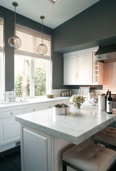 Similar contrast to my plan for the kitchen - more green gray and not so dark.  Why do all the kitchens with white cabinets also have white walls??