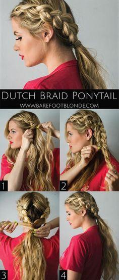 Dutch braid ponytail hair tutorial from Barefoot Blonde. Braided Hairstyles Tutorials, Pretty Hairstyles, Sport Hairstyles, Braided Hairstyles For Long Hair, Wedding Hairstyles, Ponytail Hairstyles Tutorial, Hairstyles 2016, Dutch Braid Tutorials, Simple Party Hairstyles