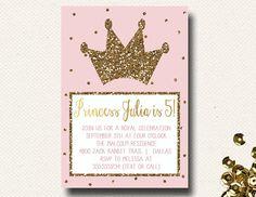 Princess Party Invitation Pink Gold Glitter Birthday on Etsy, $16.00