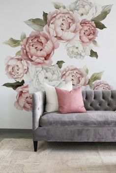 Peony wall decal floral wall decals watercolor peony large self adhesive wallpaper floral wallpaper mural peel and stick wall decals – Artofit Tufted Couch, Flower Wall Decals, Vinyl Wall Stickers, Wall Vinyl, Window Stickers, Floral Wall, Textured Walls, Living Room Decor, Interior Design