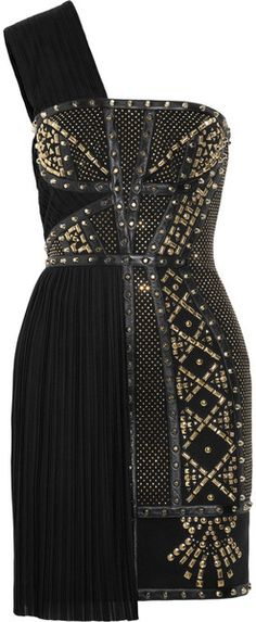 Versace Leathertrimmed Studded Plissé and Scubajersey Dress