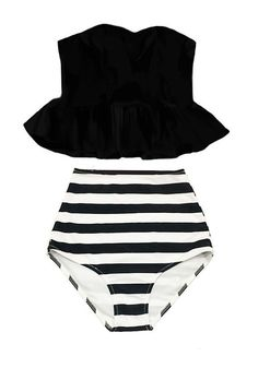 Black Strapless Long Peplum Tankini Top and Striped High Waisted Waist Shorts Bottom Swimsuit Bikini Swimwear Swimming Bathing suit S M L