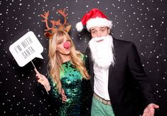 I'm with Santa // smitten studio // smilebooth Photo booth idea. Black paper/sheet with white dots!