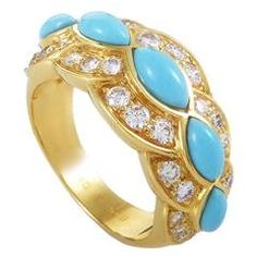 Dior Turquoise Diamond Gold Band Ring