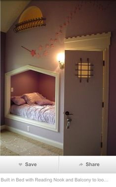 """bed nook & that door leads to the closet that holds a ladder to a reading space, with the """"balcony"""" window.--dream room for a little girl.shoot dream room for me Small Bedroom Designs, Bed Designs, Bedroom Small, Bathroom Designs, My New Room, Girls Bedroom, Bedroom Ideas, Bedroom Decor, Trendy Bedroom"""