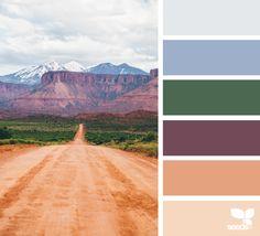 { color road } image via: @emilyklarer Palette of purple mountains khaki green eggplant purple salmon sand pale peach gray blues