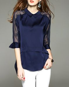 #AdoreWe #VIPme Blouses & Shirts - D.Fanni Summer Royal Blue 3/4 Sleeve Lace Paneled Silk Blouse - AdoreWe.com