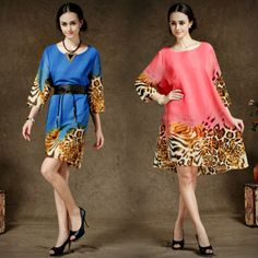 New 2014 plus size women's summer blue/pink with leopard print chiffon dress designer causal dress come with belt Free shipping $25.82