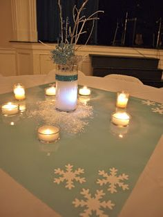 "Mirrors, ""snow"" and snowflakes for table decor idea. a. party style"