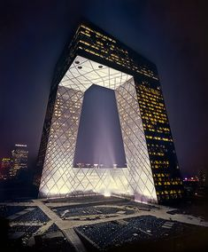 CCTV Building Beijing - One of China's biggest icon the new controversial CCTV HQ Building on the first day of test lighting.