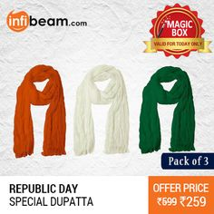 Republic Day Special Pack of 3 Dupatta at Lowest Rate from Infibeam's MagicBox !  Assuring Lowest Price in Magic Box Deals !   HURRY OFFER VALID FOR TODAY ONLY !!  #MagicBox #Deals #DealOfTheDay #Offer #Discount #LowestRates #RepublicDay #Dupatta #Combo #Clothing #FashionAccessories #Ladieswear #WomensWear