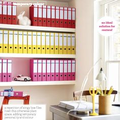 The organization neat freak LOVES this idea!  Three Ways To A Statement Home Office – Bright.Bazaar
