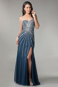 Amazing Sweetheart Beaded Bodice Floor Length Prom Dresses With Slit USD 146.99 SPRSR971E - SeasonMall.com