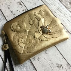 Gold Faux Leather Flower & Bee Clutch Bag £27.00