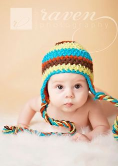 Striped baby photography prop - Newborn Crochet hat is orange , brown, aqua, and lime - Sizes newborn to Toddler. $15.00, via Etsy.