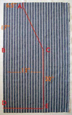 - 1,15 m de tecido (aprox.) para o corpo do avental   - 46 cm de tecido (aprox.) para o bolso   - 3 metros de lona de algodão natural ...