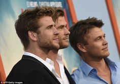 Chiseled: The trio bear a striking resemblance to each other, with Liam (L) being the youngest at 25