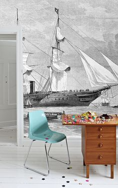 "Ships Wall Mural, Black and White Wallpaper, Vintage Illustration - 100"" x 72"". anewalldecor"