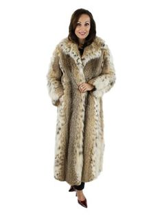 Cat Lynx Coat - leopard print full length long fur coat - pre-owned resale price
