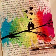 Rainbow melted crayons on book, w/ silhouette images above.
