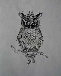 Flower of Life Pattern Owl by JasmiinaCecilia.deviantart.com on @DeviantArt