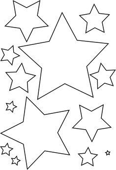 Estrellas de diferentes tamaños que podemos utilizar para de contar el árbol de Navidad. se pueden pintar primero y luego rellenarlas con purpurina / glitter o también las podemos decorar con alguna lentejuela .