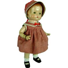 Vintage 1930's Effanbee Patsy Composition Doll in Clothes Dress & ORIG Shoes