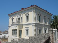father from here Neoclassical Architecture, Architectural Styles, Samos, Greece Islands, Small Island, Greek, Villa, House Ideas, Mansions