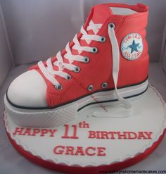 My Converse Hi Top Cake Tutorial. It can be found at www.facebook.com/kathrynshomemadecakes.co.uk