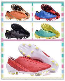 Fast Ship 2016 New FG Shoes BlackSolar ORANGE Light Blue Red Futbol Football boots soccer shoes mens men Training Sneakers boot Sports shoes