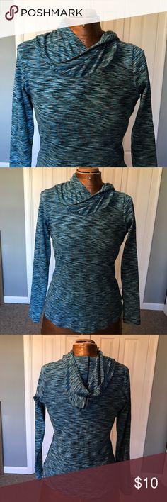 Blue hooded running knit Tshirt Like new hooded Columbia running tshirt. Size medium. 80% cotton, 20% polyester. Columbia Tops Tees - Long Sleeve