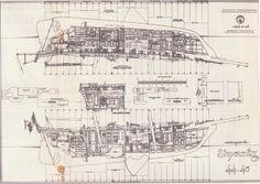 """Schpountz 44-40, Architecte Daniel Z Bombiguer. Les plans hyper détaillés pour une construction en bois lamellé-collé, étaient destinés à des constructeurs amateurs, et accompagnés d'une """"bible"""" de plus de 1000 pages (2 tomes ! ) avec tous les détails possibles et imaginables expliqués, dessins et croquis à l'appui. Le bateau est une pure merveille, les plans seuls sont déjà des oeuvres d'Art..."""