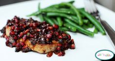 Meet the Dubiens: pomegranate pork chops with garlicky green beans
