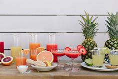 a diy seasonal margarita bar!  mix up a few different margarita mixes with fresh fruit & serve  on a bar with tequila, a salty rim station, & lots of garnishes, & let everyone create their own margaritas!  what a FUN idea for a backyard party this summer or for a girls night!