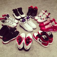 I know all the names ^~^ Bred 11's ; Olympic 7's ; Chicago Bull 10's ; Bright Crism 3's ; Fire Red 4's ; Valentine 5's ; OG 1's ; Fire Red 5's && Grape 5's
