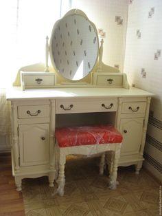 Купить Туалетный столик с тумбочками и зеркалом - белый, туалетный столик, будуарный, из натурального дерева, прованс