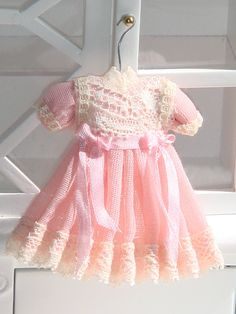 Dollhouse linnen children dress. Ready to hang.