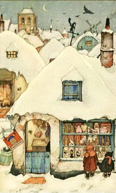 Anton Pieck - Find A Grave Memorial Art And Illustration, Book Illustrations, Christmas Pictures, Christmas Art, Anton Pieck, Photo D Art, Dutch Painters, Dutch Artists, Winter Art