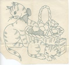 s177 cats with eggs in a basket by two junebugs, via Flickr